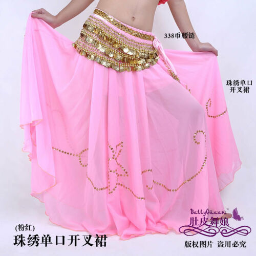 Belly Dance Costume Skirt //Gold Trim 10Colors availabl