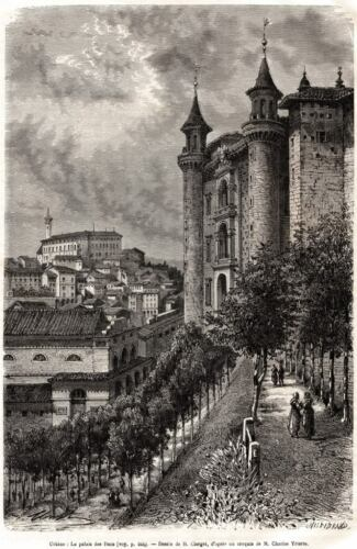 Passepartout.1877 Urbino Palzzo Ducale.Grande Veduta Pittoresca.Stampa Antica