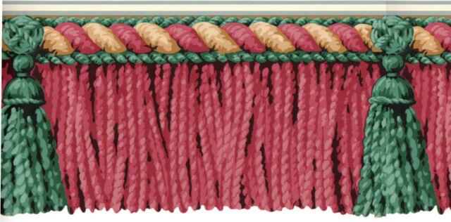 BURGUNDY Mauve Green Drapery Drape Tassel Fringe Rope Bullion Wall paper Border