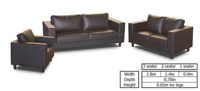 FAUX LEATHER CONTEMPORARY SOFA SUITE BLACK 3+2 SEATER