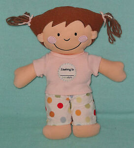 Babystyle Soft Cloth Baby Doll I Belong To Polka Dot Pants Pink Shirt Brown Hair