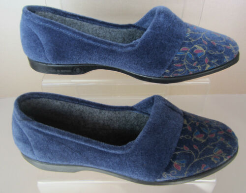 Textile Opal Silver and Blueberry Available Ladies Slippers Lynne Style