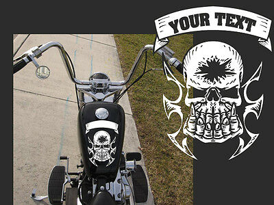 """Motorcycle fist skull Gas tank decal Harley 10""""x8"""" with custom text"""
