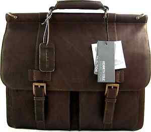 NEW-Kenneth-Cole-Genuine-Leather-Briefcase-Brown-Laptop-Lawyer-Messenger-Bag