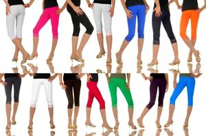 Cropped-Leggings-with-Lace-Cotton-3-4-Length-Summer-Colours-amp-Sizes-High-Quality