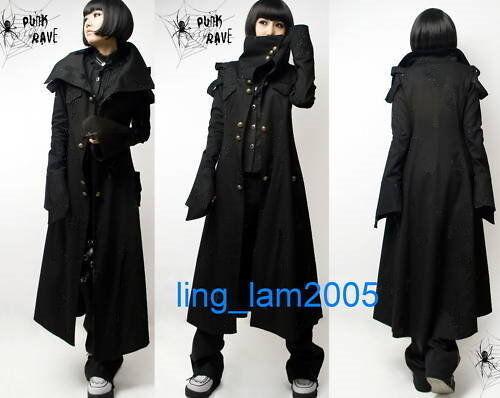 Unisex All black PUNK Kera Gothic COLLAR long JACKET