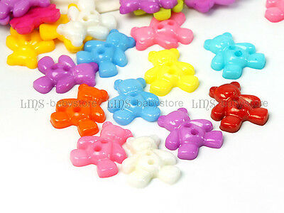 40 Multicolor Bear Plastic Sewing Buttons BU34