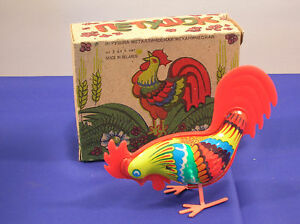 Vintage-Wind-up-Tin-Rooster-Toy-Pecks-the-Ground-and-Hops-Around-FREE-SHIPPING