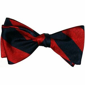 New-Hand-Made-100-Silk-NAVY-amp-RED-Stripes-SELF-TIE-Bow-Tie-2-5-034-wide