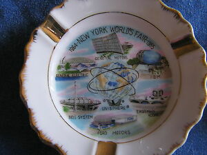 1964-NEW-YORK-WORLD-039-S-FAIR-SET-OF-CHINA-ASHTRAYS-UNISPHERE-DIFFERENT-SCENES