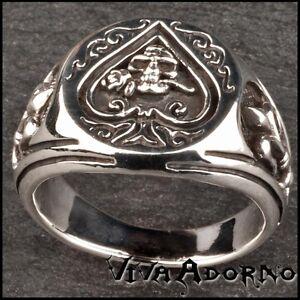 Seal-Ring-Pik-Skull-Rose-925-Silver-Ring-Thumb-Ring-Lilies-Poker-SR17