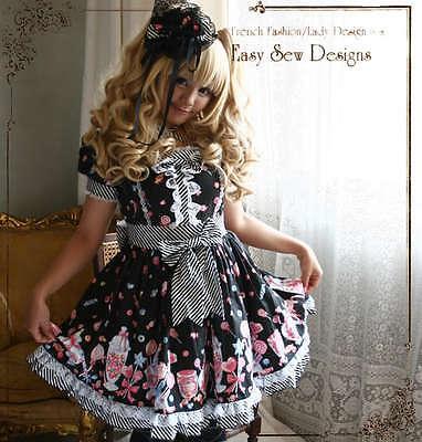 Sweet Lolita Candy Shop Princess Puff Sleeve Afternoon Tea Party Dress+Headdress