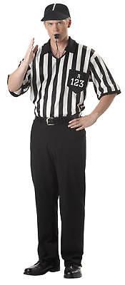 Adult Men Sport Referee Shirt + Cap Halloween Costume