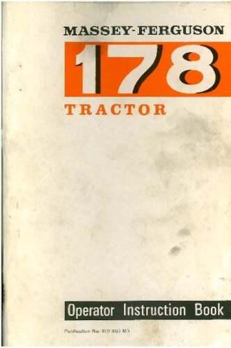 Massey Ferguson Tractor 178 Operators Manual - MF178