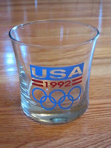 1992 Games of the WINTER - ALBERTVILLE and SUMMER - BARCELONA Olympics USA Glass