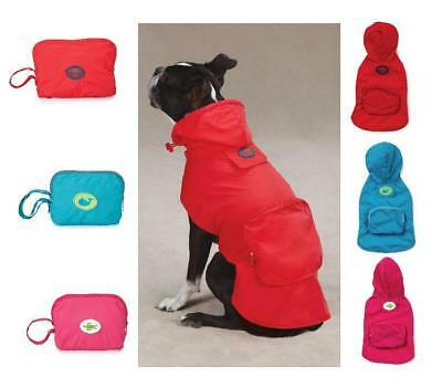 STOWAWAY RAIN JACKET Hooded Compact Folding Travel Dog Coat XS RED