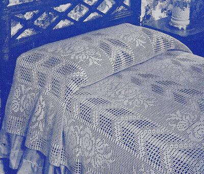 Vintage Crochet PATTERN to make Filet Bedspread Arrow Rose Filet Design