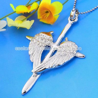 1pc Pick Silver Plated Cross Angel Wings Bead Jewelry Pendant For Necklace Chain