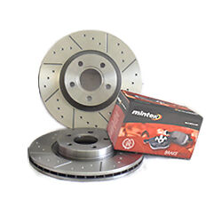 Subaru Impreza 2.0 T WRX 00-05 Front Brake Discs+Pads Dimpled & Grooved