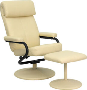 cream chair with ottoman colored leather recliner with pillowtop headrest and 13581 | s l300