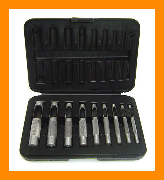 9 Pieces Leather Hollow Punch Hole Puncher Tool Set with Storage Box