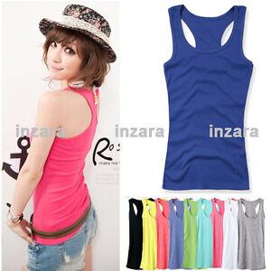 Womens-Mini-Sleeveless-T-Shirt-Girls-Tank-Tops-Ladies-Cami-Waistcoat-Vest-NEW