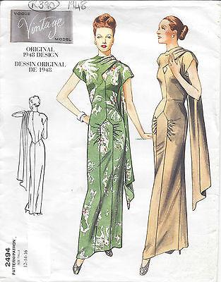 1948 Vintage VOGUE Sewing Pattern B40-42-44 DRESS (R948)