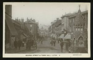 Beds-LUTON-George-St-Town-Hall-1917-RP-PPC