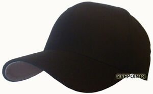PLAIN-flexfit-FITTED-BASEBALL-CAP-HAT-BLACK-S-XL
