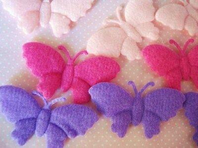 """60 Swirl Felt Butterfly 2"""" Wide Wings Applique/Trim/Bow/pink/purple/fuchsia H263"""