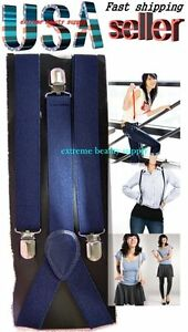 lady-girl-woman-clip-on-halloween-suspenders-Navy-blue