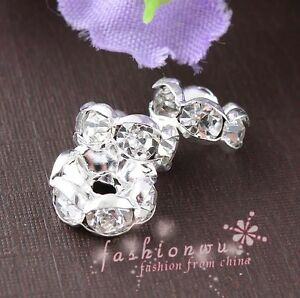 100X-Silver-Plated-Rhinestone-Round-Beads-Spacer-8mm