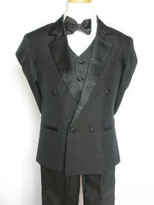 Little-Boy-Easter-Recital-Formal-Wedding-Party-Tuxedo-Suit-Black-sz-S-M-L-5-6-7