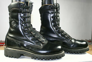 CHIPPEWA LEATHER COMBAT WORK BOOTS LACE/ZIP STEEL TOE PADDED ...