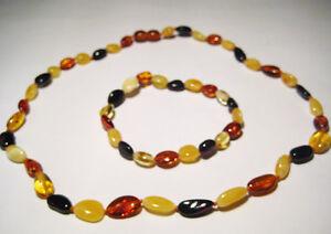 Natural-ambar-del-Baltico-Collar-y-Brazalete-Multicolor
