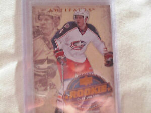 2008-09-UD-Artifacts-ROOKIE-Hockey-Card-256-Clay-Wilson-Blue-Jackets-999-RC