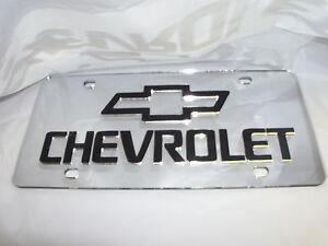 CHEVROLET-Laser-License-Plate-Silver-Black-NEW