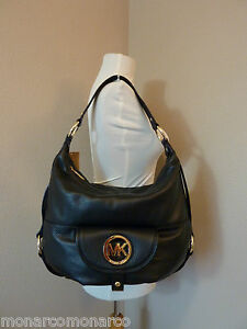 nwt michael kors black leather large fulton shoulder bag hobo 328. Black Bedroom Furniture Sets. Home Design Ideas