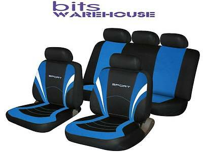 FORD FOCUS Universal Sized SPORTS Fabric Car Seat Covers BLACK & BLUE