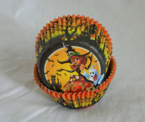 50 Halloween Little witch pumkin cupcake liners baking paper cup muffin case