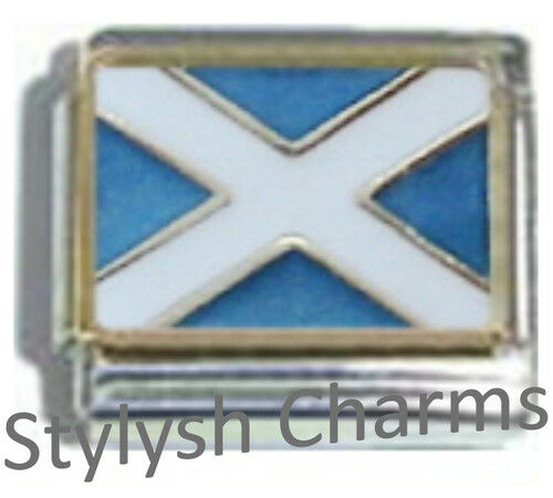 SCOTLAND SCOTTISH FLAG Ceramic Italian Charm 9mm - 1x PQ043 Single Bracelet Link