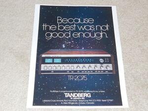 Tandberg TR-2075 Super Receiver Ad, 1976, 1 pg, Beautiful!