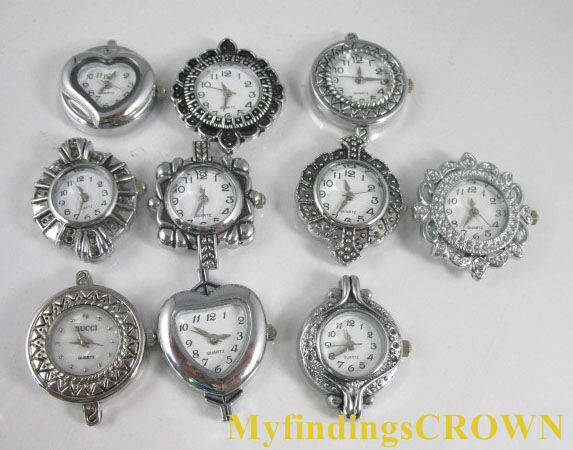 10 Mixed Silver Quartz Watch face for beading