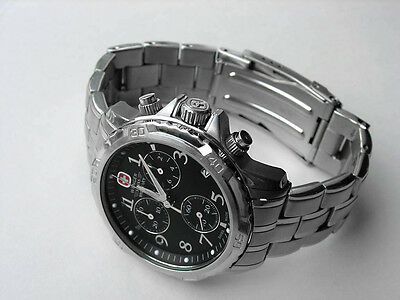 WENGER GENUINE SWISS ARMY MILITARY GST CHRONOGRAPH WATCH MEN'S BLACK DIAL $400!!