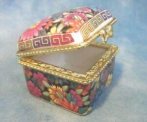 Porcelain Floral Design TRINKET TREASURE JEWELRY BOX