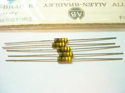 5 Allen Bradley Carbon Comp Resistors 100 ohm RCR 1/2W 5%
