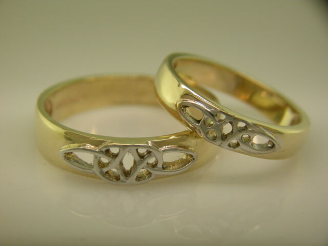 14k Gold & White Gold Irish handcrafted Celtic Wedding Ring Set All sizes