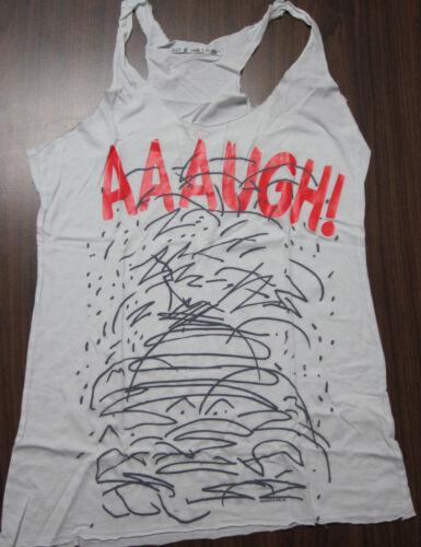 Juniors XS Wht Peanuts Charlie Aaaugh Tank T-shirt tee