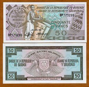 Burundi-50-Francs-1993-P-28-28c-UNC