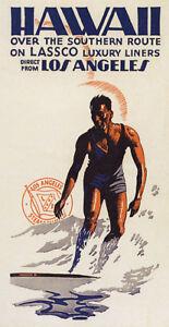hawaii surf man surfing beach sport usa travel vintage poster repro